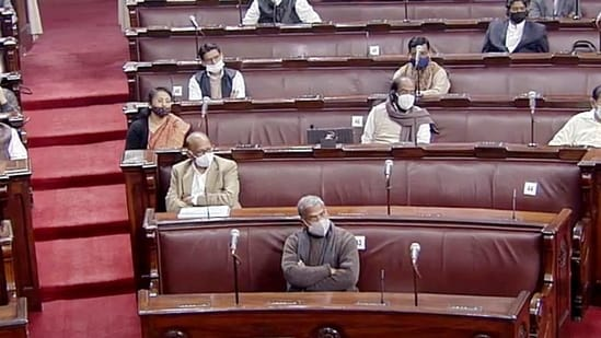 Opposition leaders during the Budget Session of Parliament in Rajya Sabha, in New Delhi.