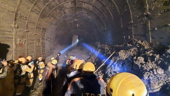 Search and rescue operation underway at Tapovan tunnel in Chamoli on Tuesday. (ANI)
