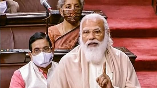 Prime Minister Narendra Modi speaks in the Rajya Sabha on Tuesday. (PTI)