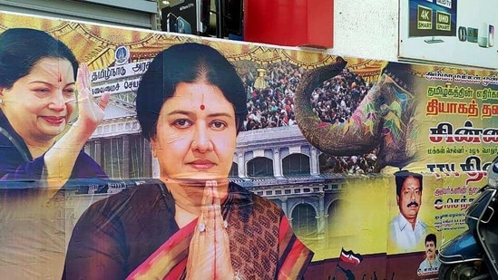 A large banner of VK Sasikala at Krishna Priya's residence where she likely to stay after reaching Chennai. (ANI)