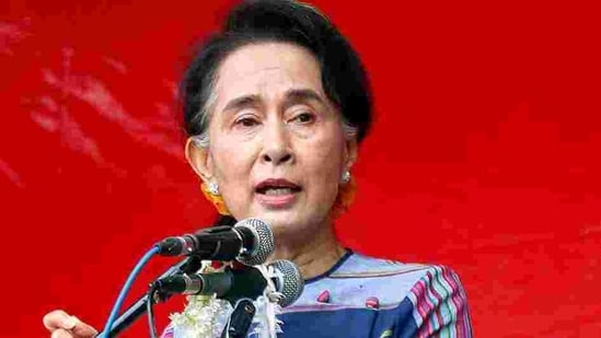 Ousted leader of Myanmar Aung San Suu Kyi.