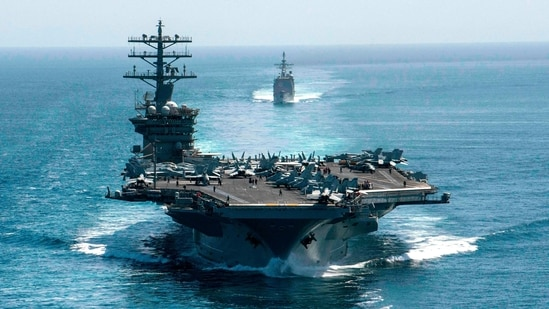 The exercise comes days after China condemned the sailing of the destroyer, the USS John S. McCain, near the Chinese-controlled Paracel Islands. In picture - Aircraft carrier USS Nimitz.(AFP)