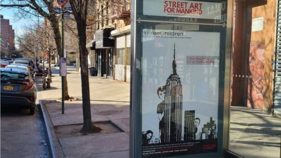 Nine striking pieces commissioned by Street Art for Mankind (SAM) - an artistic movement fighting child trafficking - can be seen on dozens of billboards across New York City.(Reuters)