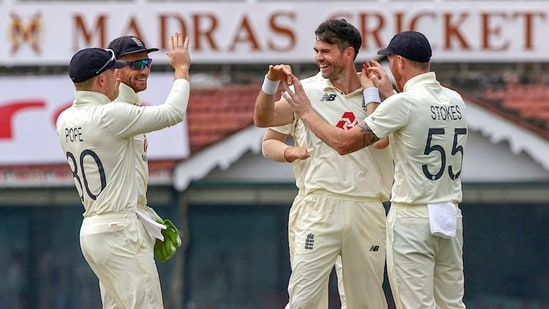 England's fast bowler James Anderson celebrates the wicket of India's Ajinkya Rahane.(PTI)