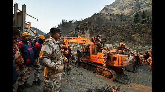 Rescue operations underway at Tapovan tunnel, Chamoli, Uttarakhand, February 8, 2021 (PTI)