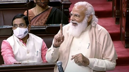 Prime Minister Narendra Modi speaks during the farewell to retiring Rajya Sabha MPs during the Budget Session of Parliament in New Delhi on Tuesday. (ANI Photo/ RSTV Grab)