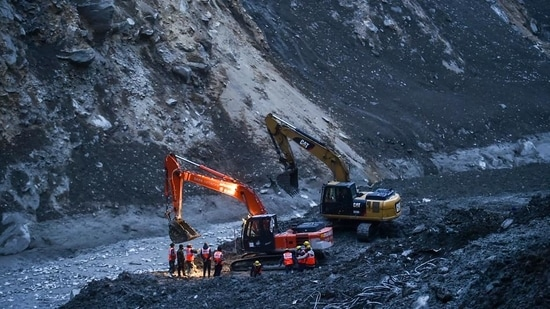 Rescue operations continue at Tapovan tunnel following Sunday's glacier burst in Joshimath, in Chamoli district of Uttarakhand, on February 9. (PTI)