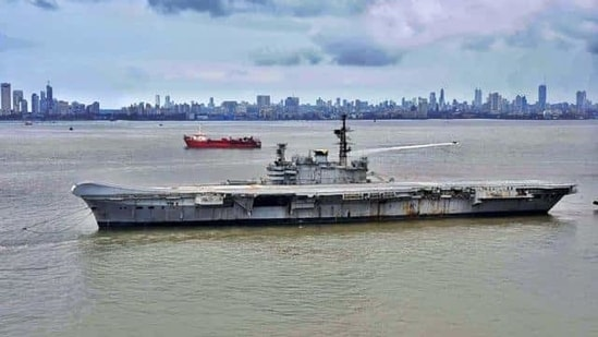 Mumbai: INS Viraat on its way to Alang in Gujarat, where it will be dismantled and sold as scrap, in Mumbai, Saturday, Sept. 19, 2020. The naval ship has served the Indian Navy for 30 years before being decommissioned three years ago. (PTI Photo)(PTI19-09-2020_000173B) (PTI)