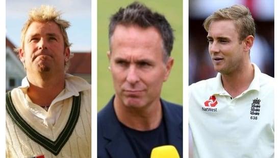 Shane Warne, Michael Vaughan, Stuart Broad