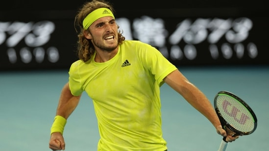 Stefanos Tsitsipas celebrates after winning his second-round match against Australia's Thanasi Kokkinakis(REUTERS)