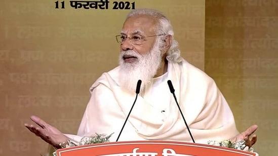 Prime Minister Narendra Modi addresses while paying tributes to former Bharatiya Jana Sangh leader Deendayal Upadhyaya on his death anniversary, in New Delhi on Thursday. (ANI Photo)