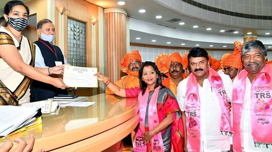 Gadwal Vijayalakshmi of the TRS was elected as the first citizen of Hyderabad(Mayor) in Hyderabad on Thursday. (ANI Photo)