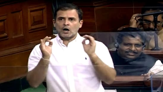 Congress Lok Sabha MP from Wayanad Rahul Gandhi speaks during the Budget Session of Parliament, in New Delhi on Thursday. (ANI Photo/ LSTV Grab)