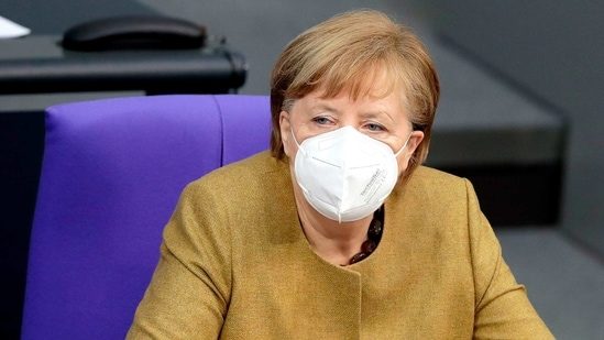 Chancellor Angela Merkel warned earlier Thursday that aggressive mutations will gain the upper hand in the country sooner or later, threatening to destroy progress made in containing the pandemic. (AP Photo/Michael Sohn)(AP)