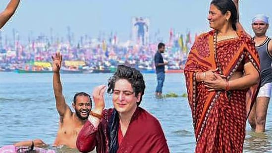 Prayagraj: Congress leader Priyanka Gandhi Vadra takes a holy dip in Sangam on the occasion of 'Mauni Amavasya' during the ongoing 'Magh Mela' in Prayagraj, Thursday, Feb. 11, 2021. (PTI Photo)(PTI02_11_2021_000176A)(PTI)