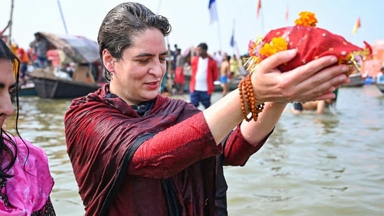 Congress leader Priyanka Gandhi Vadra takes a holy dip in Sangam on the occasion of 'Mauni Amavasya' during the ongoing 'Magh Mela' in Prayagraj, Thursday, Feb. 11, 2021. (PTI)