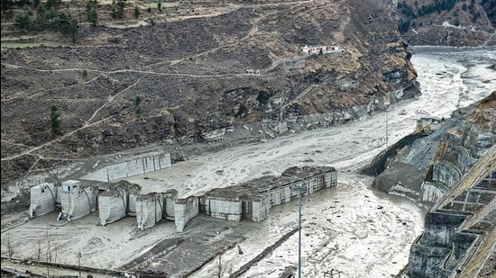 Damaged Tapovan hydel project tunnel, after Sunday's glacier burst in Joshimath causing a massive flood in the Dhauli Ganga river, in Chamoli district of Uttarakhand on Thursday. (PTI)