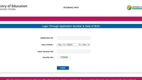 JEE main admit card 2021.(Screengrab)