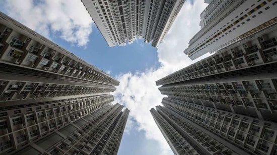 A general view of a government housing complex in Hong Kong. (Anthony Wallace / AFP)