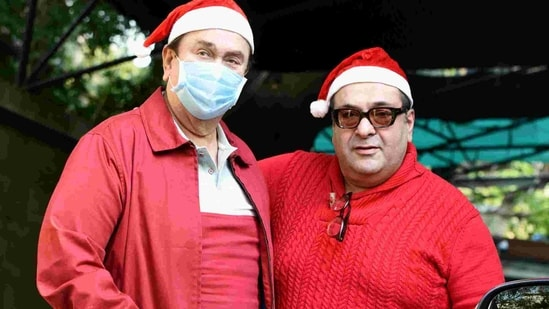 Randhir Kapoor (L) and Rajiv Kapoor (R) at the annual Kapoor family Christmas lunch in 2020.