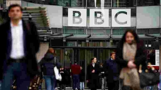 Pedestrians walk past a BBC logo at Broadcasting House in London, Britain January 29, 2020. (Reuters File Photo )