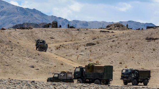 In this file photo taken on July 4, 2020 Indian army soldiers drive vehicles along mountainous roads as they take part in a military exercise at Thikse in Leh district of the union territory of Ladakh. (AFP)