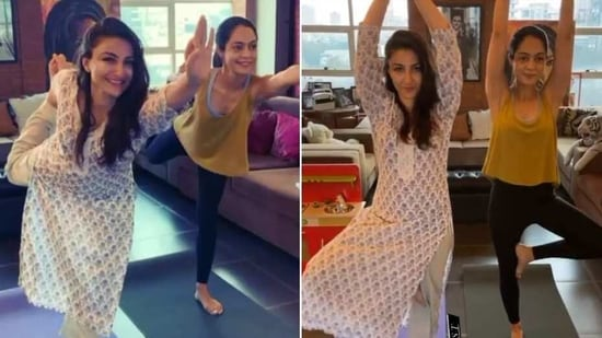 Soha Ali Khan shares snippets from workout routine(Instagram/ sakpataudi)