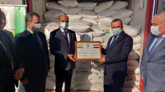 The first consignment of 1,000 tonnes of rice was handed over by Indian ambassador Hifzur Rahman to Hussain Makhlouf, Syria's minister of local administration and head of the Supreme Relief Committee, at Latakia port on Thursday. (TWITTER/@MEAIndia)