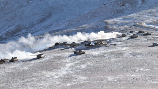 By Thursday, PLA had withdrawn more 200 main battle tanks from the south banks of Pangong Tso. (ANI Photo )