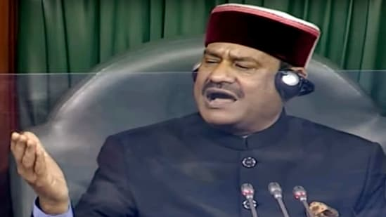 Lok Sabha Speaker Om Birla speaks during the Budget Session of Parliament in New Delhi on Saturday. (ANI Photo)