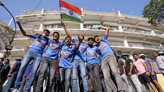 Indian cricket team fans at the M.A. Chidambaram Cricket Stadium, before the start of the second test match between India and England in Chennai on Saturday. (ANI Photo)