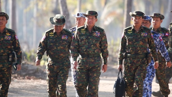 Myanmar military commander-in-chief General Min Aung Hlaing and senior military commanders.(File Photo / AFP)