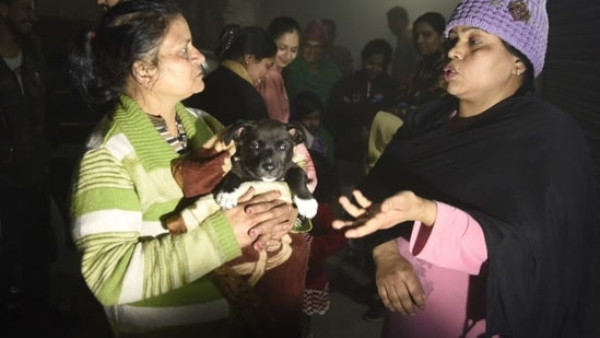 Residents - one holding a puppy- speak on a street in Amritsar late February 12, 2021, after leaving their homes as tremors shook the city in Punjab State north-western India following a powerful earthquake in Tajikistan of a magnitude of 5.9 according to the United States Geological Survey (USGS).(AFP)