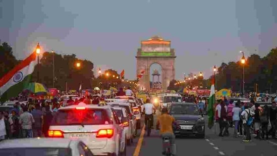 People gathered near India Gate on August 15. Mexico appears to be among the hardest-hit in the number of deaths, with an exceptionally high CFR, of 11%. India also took longer than the three countries in recording its 50,000 fatalities –156 days after reporting its first Covid-19 fatality on March 12. In comparison, the US took 23 days to breach this mark, Brazil 95 days and Mexico 141 days, according to data by Covid-19 tracking website Worldometers. (Amal KS / HT Photo)