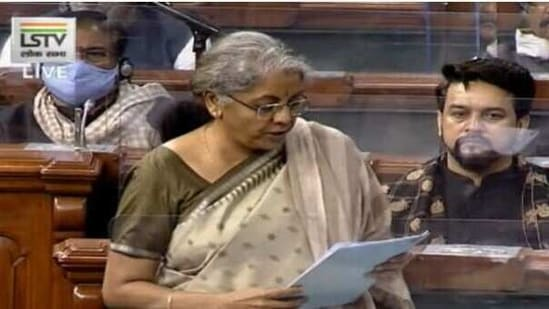 Finance minister Nirmala Sitharaman replying to the discussion on the Union Budget in the Lok Sabha on Saturday,
