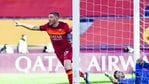 Roma's Jordan Veretout celebrates after he scored his side's first goal during a Serie A soccer match against Udinese(AP)