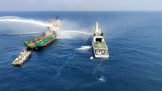 Indian Coast Guard (ICG) ships and aircraft deployed for fire fighting operation onboard Offshore Supply Vessel Greatship Rohini, 92 nautical miles from Mumbai. One crew member who received injuries was evacuated and shifted to hospital for treatment. (ANI Photo)