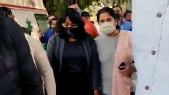 Activist Disha Ravi sent to 5 days Delhi police special cell custody, in New Delhi on Sunday. (ANI Photo)