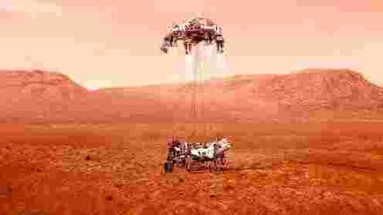 This illustration provided by NASA shows the Perseverance rover landing on Mars.(AP)