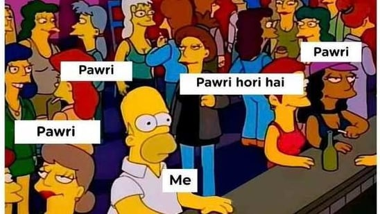 The image is a meme shared in response to the viral pawri horai hai song.(Twitter/@yuvaa)