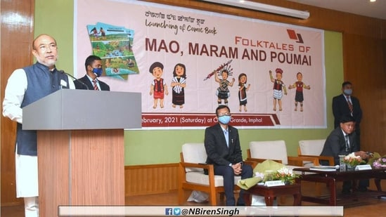 CM Biren Singh and VC of Manipur University of Culture P Gunindro Singh were present at the launch of the comic book.(Courtesy- Twitter)