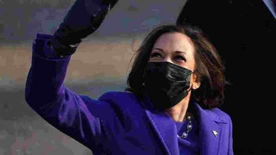 U.S. Vice President Kamala Harris walks the abbreviated parade route after U.S. President Joe Biden's inauguration on January 20, 2021 in Washington, DC. Biden became the 46th president of the United States earlier today during the ceremony at the U.S. Capitol.(AFP)