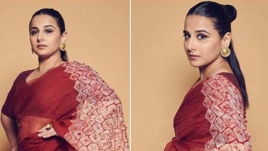 Vidya Balan takes quirky dressing up a notch, pairs fun hairdo with ₹35k saree - Hindustan Times