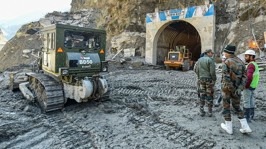 The ongoing multi-agency rescue operation at Tapovan Tunnel, in Chamoli district's Joshimath.(PTI Photo)