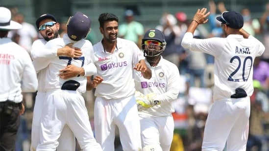 R Ashwin celebrates a wicket with his teammates. (BCCI)