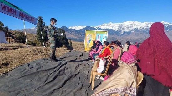 """""""The counselling camp was aimed at spreading awareness amongst youth from far-flung areas about opportunities available to them under project Himayat."""" an Army spokesperson said. (ANI Photo)"""