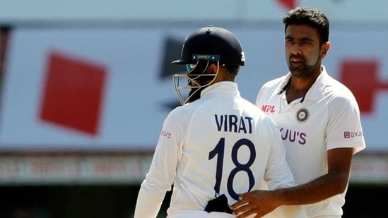 India's Virat Kohli and Ravichandran Ashwin during the 2nd test match against England at MA Chidambaram Stadium, in Chennai.
