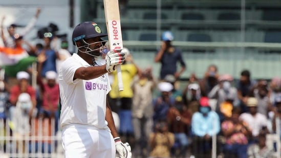 India's Ravichandran Ashwin celebrates his half century during the 3rd day of the 2nd test match against England at MA Chidambaram Stadium, in Chennai on Monday. (ANI Photo/BCCI Twitter)