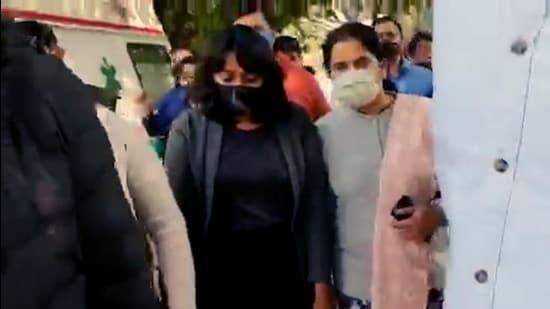 Activist Disha Ravi was sent to five-day Delhi Police special cell custody, in New Delhi on Sunday. (ANI)