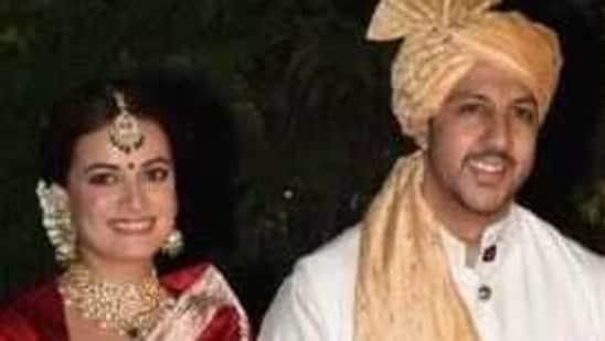 Dia Mirza and Vaibhav Rekhi on their wedding day.